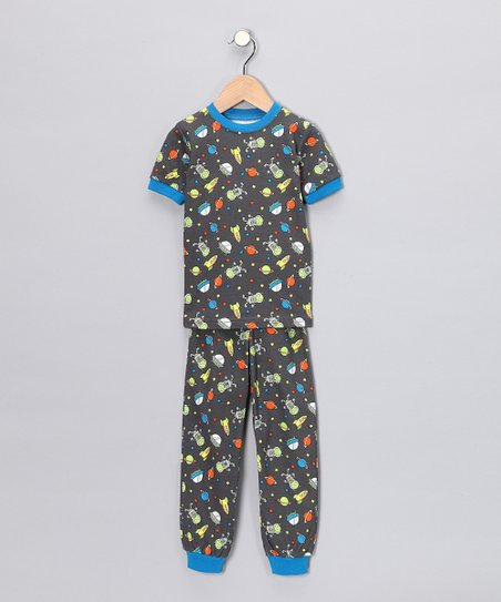 Gray Space Short-Sleeve Pajama Set - Toddler & Kids