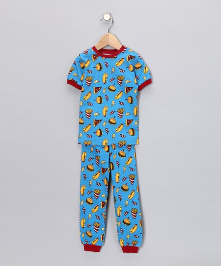 Blue Fast Food Short-Sleeve Pajama Set - Toddler & Kids