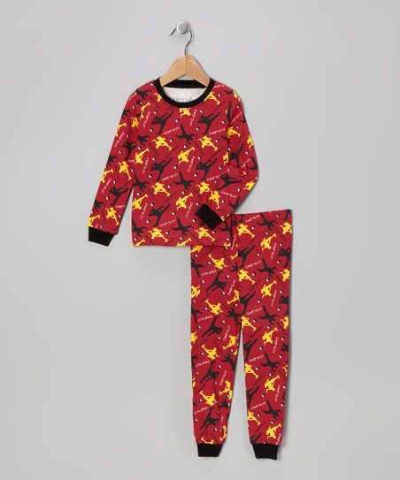 Red 'Chop to It' Long-Sleeve Pajama Set - Toddler & Kids