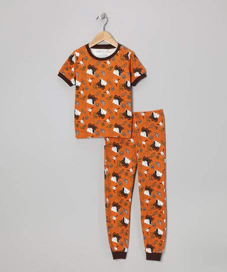 Orange Cowboy Short-Sleeve Pajama Set - Toddler & Kids