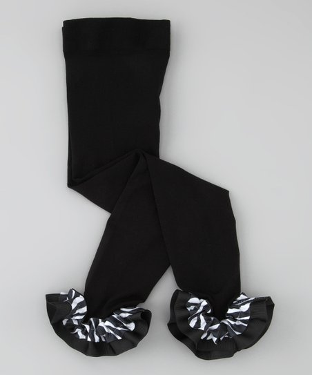 Black Zebra Ruffle Leggings - Infant, Toddler & Girls