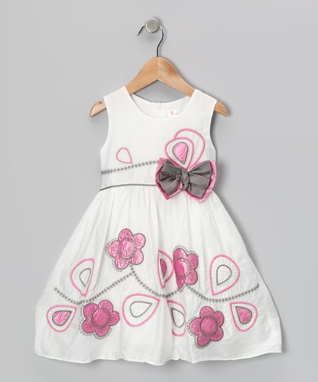 White & Pink Flower Bow Dress - Girls