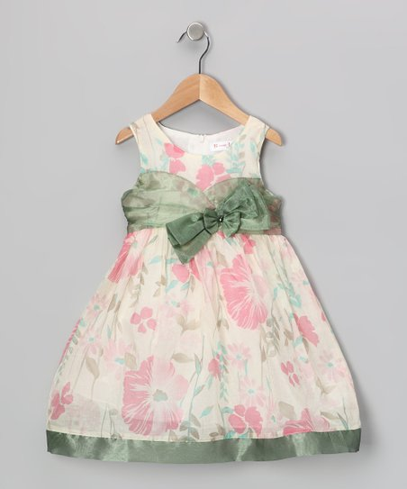 Pink & Green Floral Bow Dress - Girls