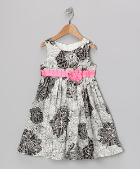 Gray & Pink Floral Dress - Toddler & Girls
