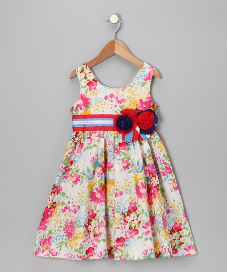 Maggie Peggy Watercolor Floral Rosette Dress - Girls