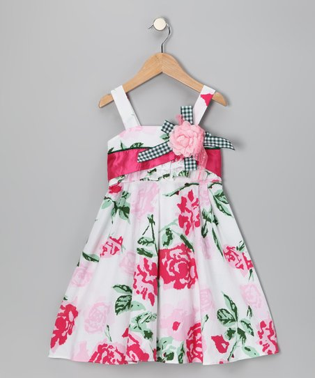 Pink Rose Bow Dress - Toddler
