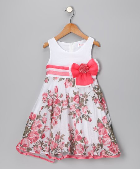 Coral Rose Bow Dress - Girls