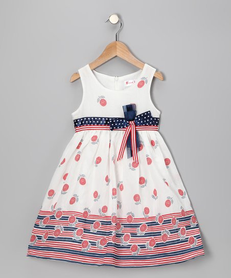 Patriotic Flower Bow Dress - Girls