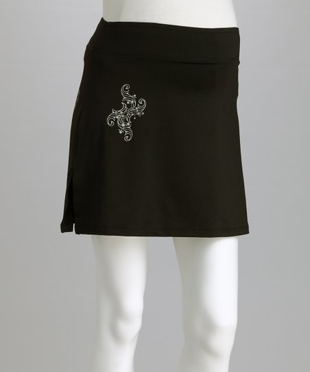 Black & Silver Sassy Joy Under-Belly Maternity Skort - Women