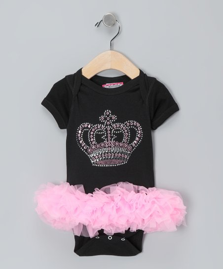Black &amp; Pink Crown Bodysuit - Infant