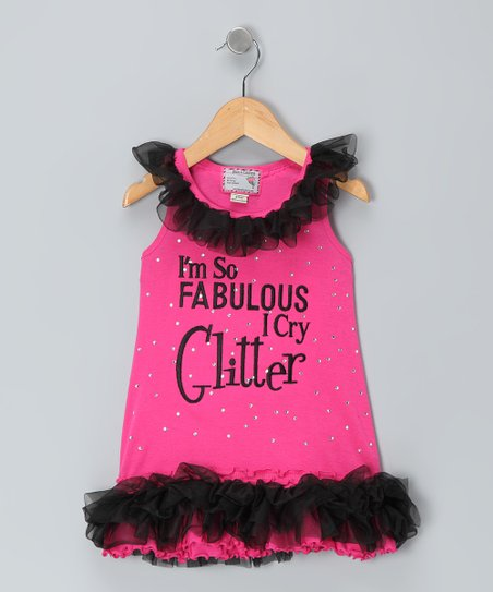 Pink 'Cry Glitter' Ruffle Dress - Girls