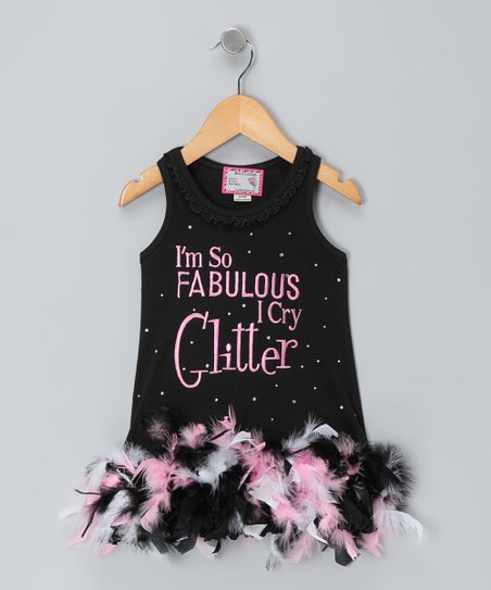 Black &#039;Fabulous&#039; Feather Dress - Infant, Toddler &amp; Girls