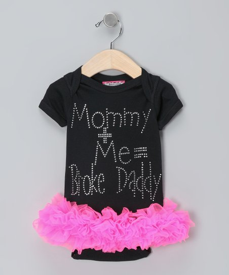 Black &#039;Mommy + Me&#039; Skirted Bodysuit - Infant   