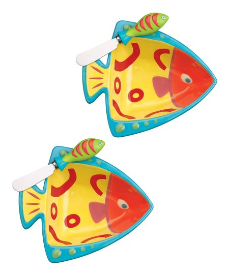 Boston Warehouse Go Fish Dip Bowl & Spreader Set
