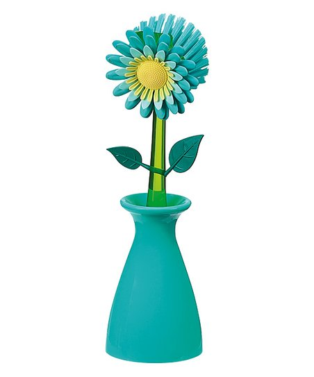 Blue Flower Garden Kitchen Brush & Holder