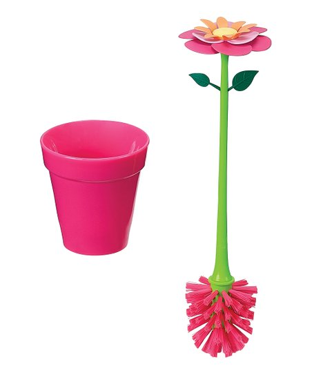 Pink Flower Garden Drinking Glass Brush & Holder