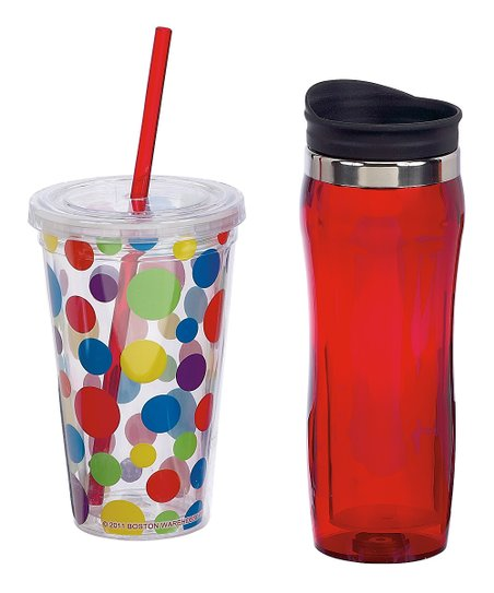 Primary Polka Dot Hot & Cold Tumbler Set