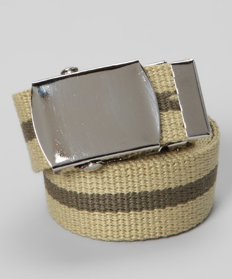 Khaki Stripe Solid Buckled Belt