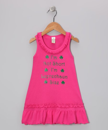 Hot Pink 'I'm Leprechaun Size' Dress - Infant, Toddler & Girls