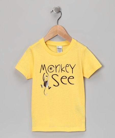 Yellow 'Monkey See' Tee - Infant, Toddler & Kids