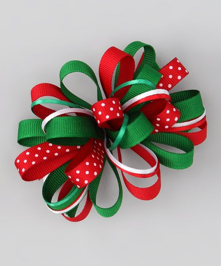 Green & Red Loopy Bow Clip