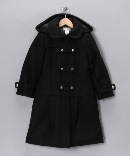 Boutattini Black Peter Pan Collar Coat - Girls