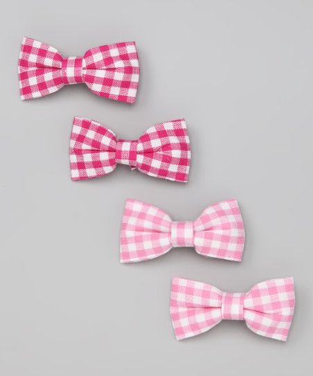 Pink Gingham Bow Set