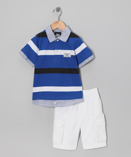 Blue &amp; White Stripe Polo &amp; Shorts - Toddler