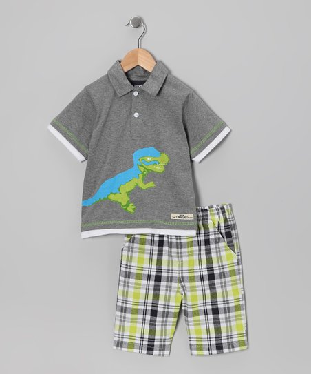 Gray Dinosaur Polo &amp; Shorts - Infant