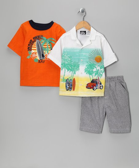 Orange 'Wave Rider' Shorts Set - Toddler