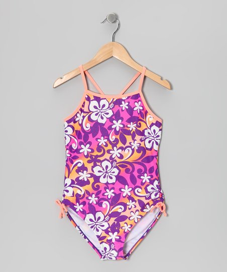 Purple & Coral Surf's Up One-Piece