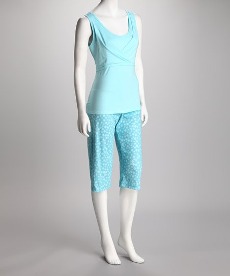 Blue Spa Nursing Capri Pajama Set - Plus