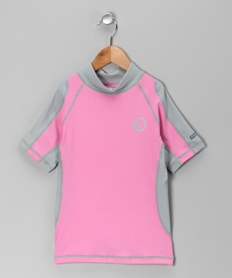Pink & Light Gray Santa Barbara Rashguard - Girls