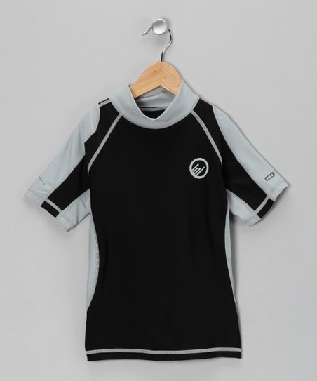 Black &amp; Light Gray Santa Barbara Rashguard - Boys