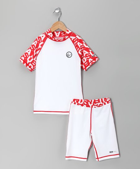 White & Warm Red Daytona Rashguard & Shorts - Kids