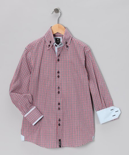 Navy & Red Plaid Contrast Button-Up - Boys