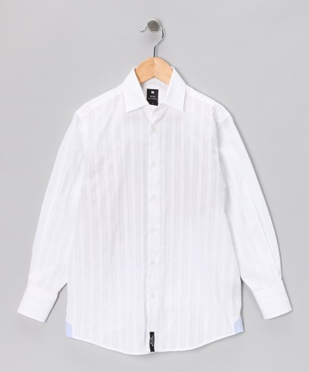 White Textured Button-Up - Boys