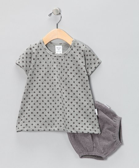 Gray Polka Dot Organic Dress & Diaper Cover - Infant & Toddler