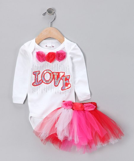 White & Pink 'Love' Bodysuit & Tutu - Infant