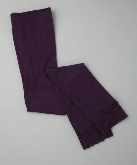 Purple Lace Footless Tights - Girls