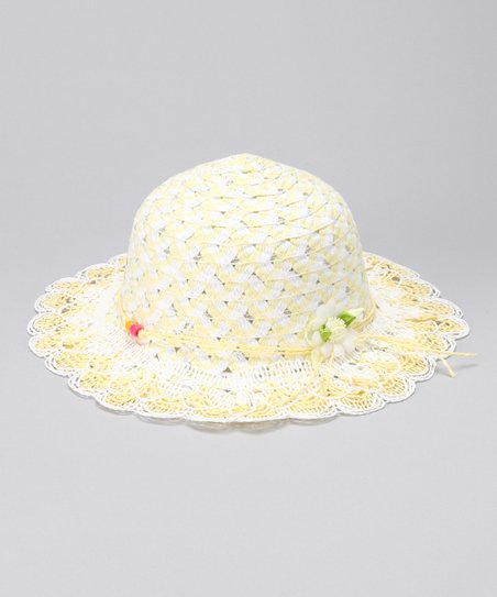 White & Yellow Lacy Sunhat