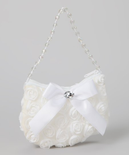 White Rosette Purse
