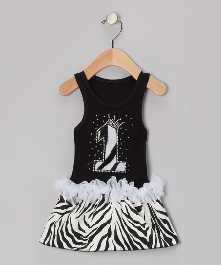 Black Zebra Stripe &#039;1&#039; Ruffle Dress - Infant