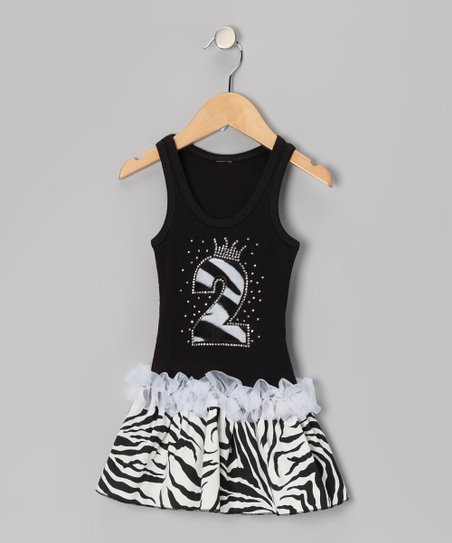 Black Zebra Stripe '2' Ruffle Dress - Toddler