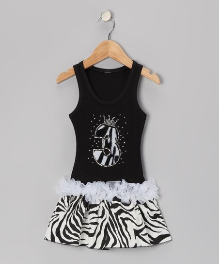 Black Zebra Stripe &#039;3&#039; Ruffle Dress - Toddler