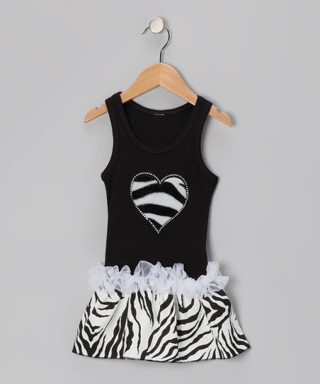 Black Zebra Stripe Heart Ruffle Dress - Toddler & Girls