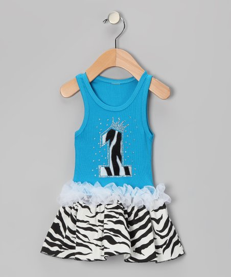 Blue Zebra Stripe &#039;1&#039; Ruffle Dress - Infant