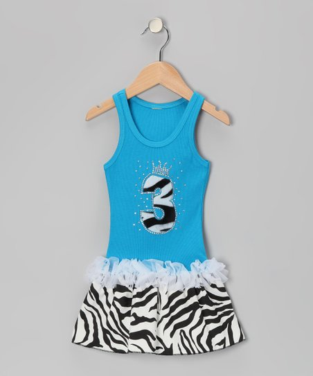 Blue Zebra Stripe &#039;3&#039; Ruffle Dress - Toddler