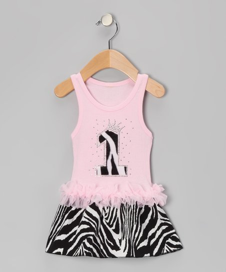 Pink Zebra Stripe '1' Ruffle Dress - Infant
