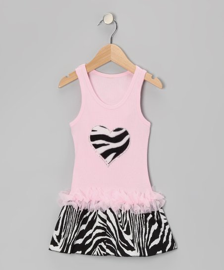Pink Zebra Stripe Heart Ruffle Dress - Toddler & Girls